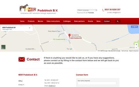 Screenshot of Contact Page podoblock.com - Contact - MXR Podoblock : MXR Podoblock - captured Nov. 18, 2016