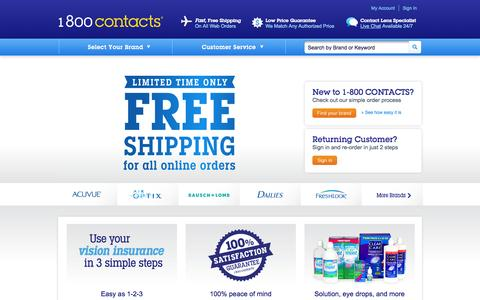 Screenshot of Home Page 1800contacts.com - Contact Lenses at 1-800 CONTACTS   World's Largest Contact Lens Store® - captured Sept. 18, 2014