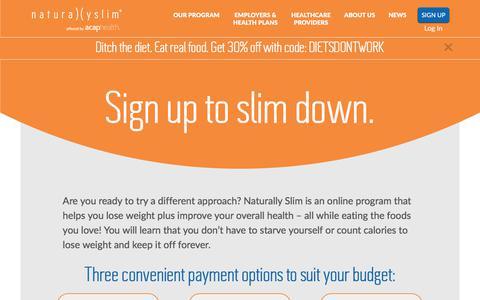 Screenshot of Signup Page naturallyslim.com - Sign Up - Naturally Slim - captured June 9, 2017