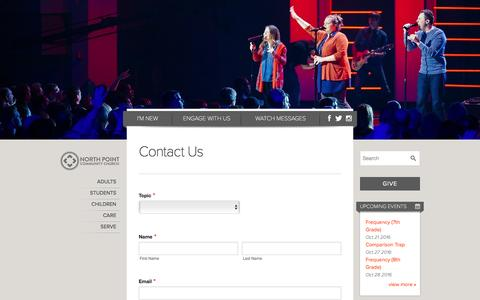 Screenshot of Contact Page northpoint.org - Contact Us - North Point - captured Oct. 19, 2016