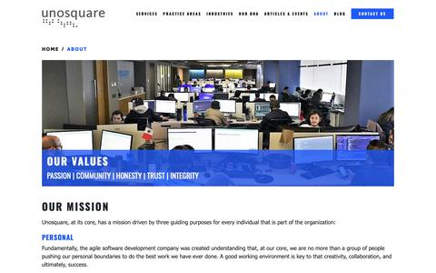 Screenshot of About Page unosquare.com - Agile Software Development Company | Staff Augmentation Company - captured Feb. 17, 2019