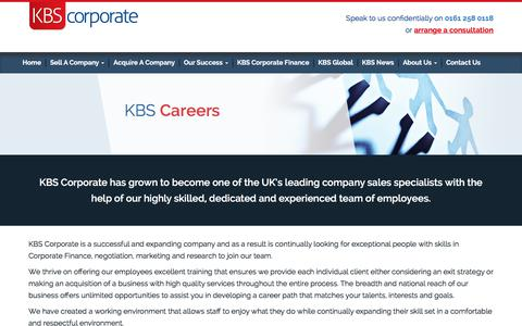 Screenshot of Jobs Page kbscorporate.com - KBS Careers | Working For KBS Corporate - captured Sept. 20, 2018
