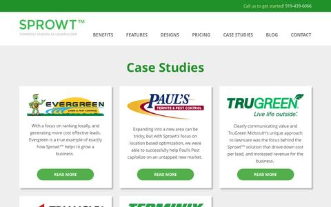 Screenshot of Case Studies Page getsprowt.com - Lawn Care & Pest Control Marketing Case Studies | Sprowt - captured May 1, 2017