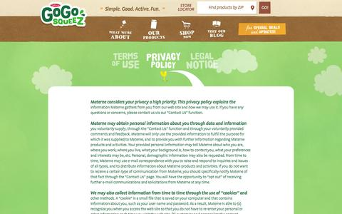 Screenshot of Privacy Page gogosqueez.com - GoGo squeeZ | Privacy Policy - captured Oct. 27, 2014