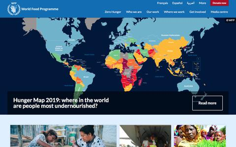 Screenshot of Home Page wfp.org - Homepage | World Food Programme - captured Aug. 11, 2019