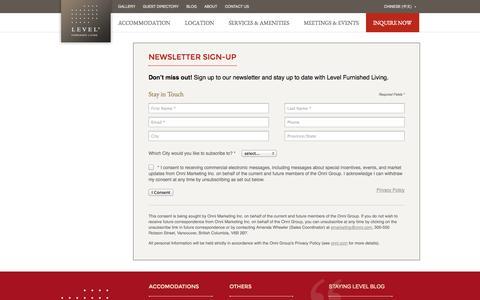 Screenshot of Signup Page stayinglevel.com - Newsletter Sign-Up - captured Nov. 1, 2014