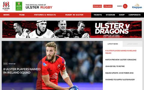 Screenshot of Home Page Menu Page ulsterrugby.com - Ulster Rugby | Homepage - captured Oct. 25, 2018