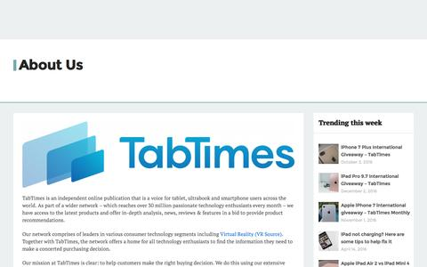 Screenshot of About Page tabtimes.com - About Us - TabTimes - captured Sept. 24, 2017
