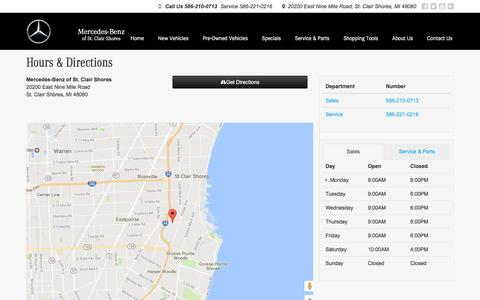 Screenshot of Hours Page mercedesbenzofstclairshores.com - Mercedes-Benz of St. Clair Shores Hours & Directions - Mercedes-Benz dealer in St. Clair Shores MI - New and Used Mercedes-Benz dealership near St Clair Shores Harper Woods Eastpointe MI - captured Dec. 27, 2016