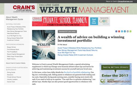 Wealth Management Guide - Crain's Chicago Business Custom Media Services