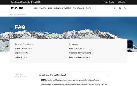 Screenshot of FAQ Page rossignol.com - ROSS - US - FAQ - captured Oct. 18, 2018
