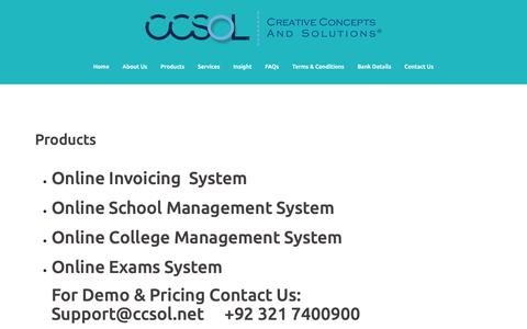 Screenshot of Products Page ccsol.net - Products – CCSOL – Creative Concepts And Solutions - captured Dec. 7, 2018