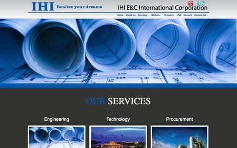 Screenshot of Services Page ihi-ec.com - IHI E&C   Engineering Procurement and Construction Services   IHI E&C - - captured Oct. 3, 2014