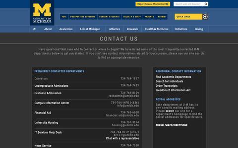 Screenshot of Contact Page umich.edu - Contact › University of Michigan - captured Oct. 13, 2018