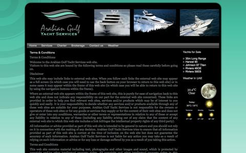Screenshot of Terms Page agys.ae - Terms & Conditions | Arabian Gulf Yacht Services - captured Oct. 4, 2014