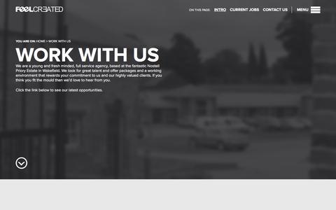 Screenshot of Jobs Page feelcreated.com - Jobs at Feel Created | Wakefield, Yorkshire, Feel Created Ltd - captured Feb. 9, 2016