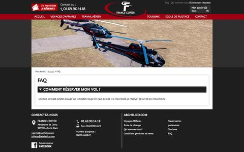 Screenshot of FAQ Page abchelico.com - Transport de passagers en hélicoptère à Paris - captured Oct. 5, 2014