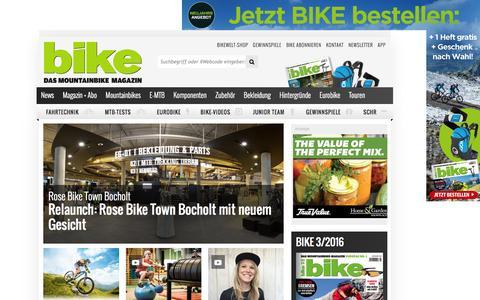 Screenshot of Home Page bike-magazin.de - BIKE - das Mountainbike Magazin - captured Feb. 19, 2016