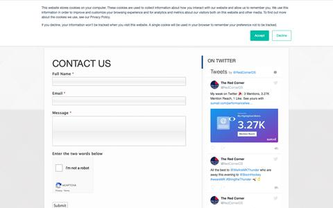 Screenshot of Contact Page theredcorner.co.uk - Contact Us | The Red Corner - captured Oct. 20, 2018
