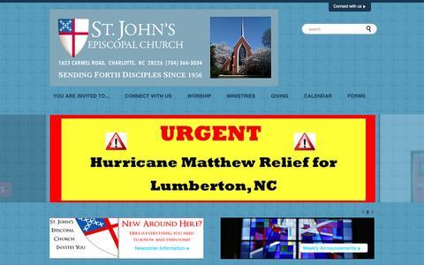 Screenshot of Home Page saintjohns-charlotte.org - St. John's Episcopal Church | Charlotte - captured Dec. 3, 2016