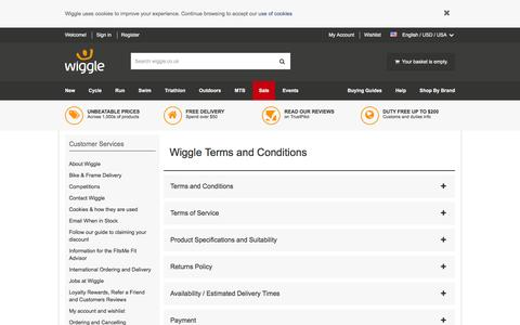 Screenshot of Terms Page wiggle.co.uk - Wiggle Customer Services - captured Dec. 3, 2015