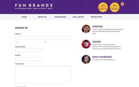 Screenshot of Contact Page fun-brands.com - Contact Fun Brands - captured Sept. 1, 2018