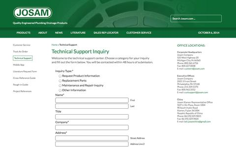 Screenshot of Support Page josam.com - Technical Support - Josam - captured Oct. 6, 2014