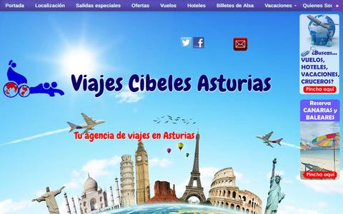 Screenshot of Home Page viajescibelesasturias.com - Viajes Cibeles Asturias - Tu agencia de viajes en Asturias - captured Jan. 22, 2015