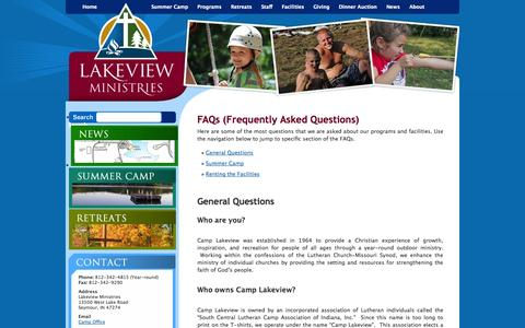 Screenshot of FAQ Page camplakeview.com - FAQs (Frequently Asked Questions) | Lakeview Ministries -- Summer Camp and Retreat Center - captured Oct. 1, 2014