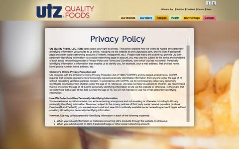 Screenshot of Privacy Page utzsnacks.com - Privacy - captured Oct. 26, 2017