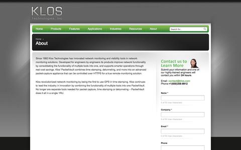 Screenshot of About Page klos.com - About - Klos Technologies, Inc - Klos Technologies, Inc - captured Oct. 6, 2014