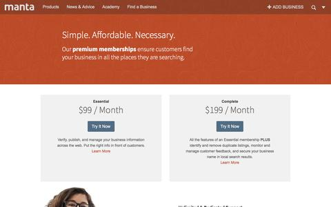 Screenshot of Pricing Page manta.com - Pricing for Small Business Marketing Products from Manta - captured Sept. 21, 2018