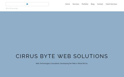 Screenshot of Home Page cirrusbyte.net - Cirrus Byte | Web Solutions – We've Got Serious Bite - captured July 13, 2016