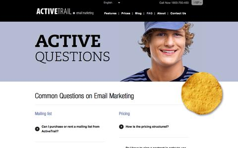 Screenshot of FAQ Page activetrail.com - FAQ about Email Marketing | ActiveTrail - captured Sept. 18, 2014