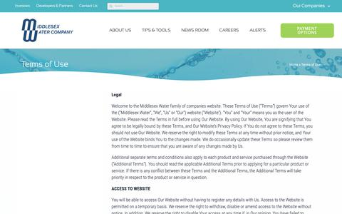 Screenshot of Terms Page middlesexwater.com - Terms of Use - Middlesex Water Company - captured Dec. 20, 2018