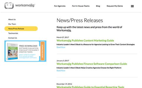 Screenshot of Press Page workamajig.com - Workamajig News & Press - captured Sept. 5, 2017
