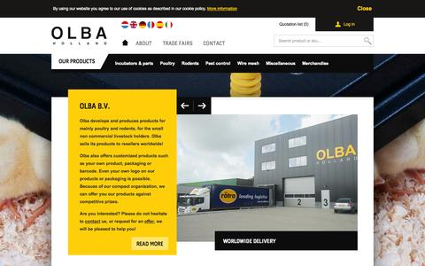 Screenshot of Login Page olba.nl - Products for poultry and rodents - Olba B.V - captured Oct. 9, 2014