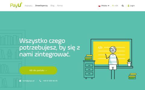 Screenshot of Developers Page payu.pl - Szybka integracja systemu płatności online | PayU Polska - captured Nov. 25, 2015