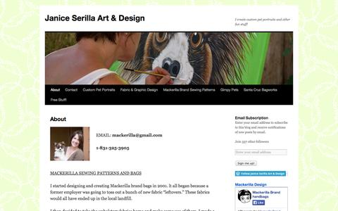 Screenshot of About Page janiceserilla.com - About | Janice Serilla Art & Design - captured Oct. 4, 2014