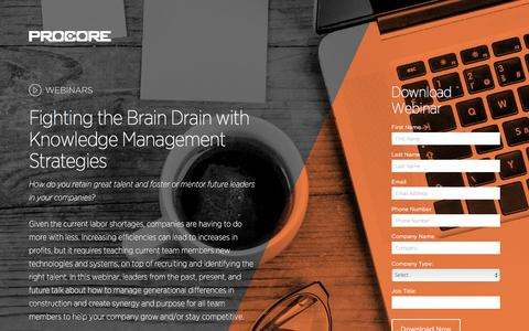Screenshot of Landing Page procore.com - Fighting the Brain Drain with Knowledge Management Strategies - captured April 5, 2016