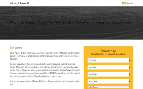 Screenshot of Landing Page microsoft.com - Power BI Report Server Webinar | Microsoft - captured July 4, 2017