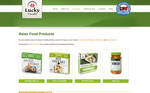 Screenshot of Products Page luckyfood.com - Non GMO Asian Food Products & Finger Foods for Wholesale - captured Feb. 2, 2016