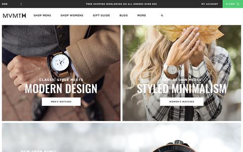 Screenshot of Home Page mvmtwatches.com - MVMT Watches | Quality Crafted Watches That Don't Break The Bank - captured Nov. 17, 2016