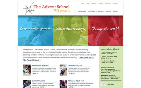 Screenshot of Home Page adventschool.org - The Advent School - Home - captured Oct. 7, 2014