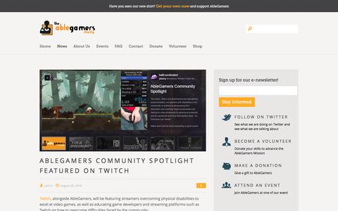 Screenshot of Press Page ablegamers.com - The AbleGamers Charity » AbleGamers News - captured Aug. 28, 2016