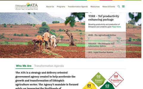 Screenshot of Home Page ata.gov.et - Agricultural Transformation Agency - ATA - captured Nov. 9, 2016