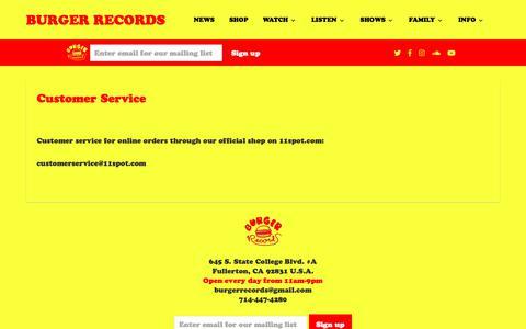 Screenshot of Support Page burgerrecords.com - Customer Service – BURGER RECORDS - captured Dec. 6, 2018