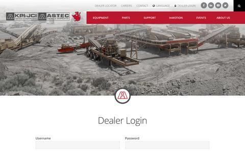 Screenshot of Login Page kpijci.com - Dealer Login | KPI-JCI and Astec Mobile Screens - captured Feb. 12, 2016