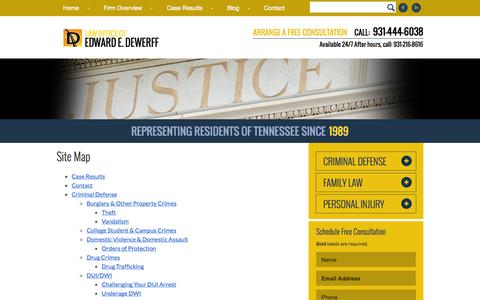 Screenshot of Site Map Page dewerfflawfirm.com - Site Map | Edward E. DeWerff | Clarksville, Tennessee - captured Nov. 1, 2014