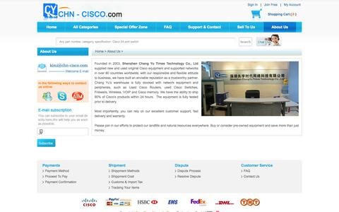Screenshot of About Page chn-cisco.com - About Us - Sell and Buy New Used Cisco Switches, Routers, Firewalls, Modules and IP phones. - captured Oct. 26, 2014